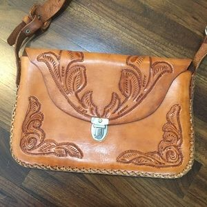 Vintage Tooled Leather Carved Tan Crossbody Bag